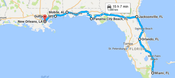 Miami to New Orleans road trip